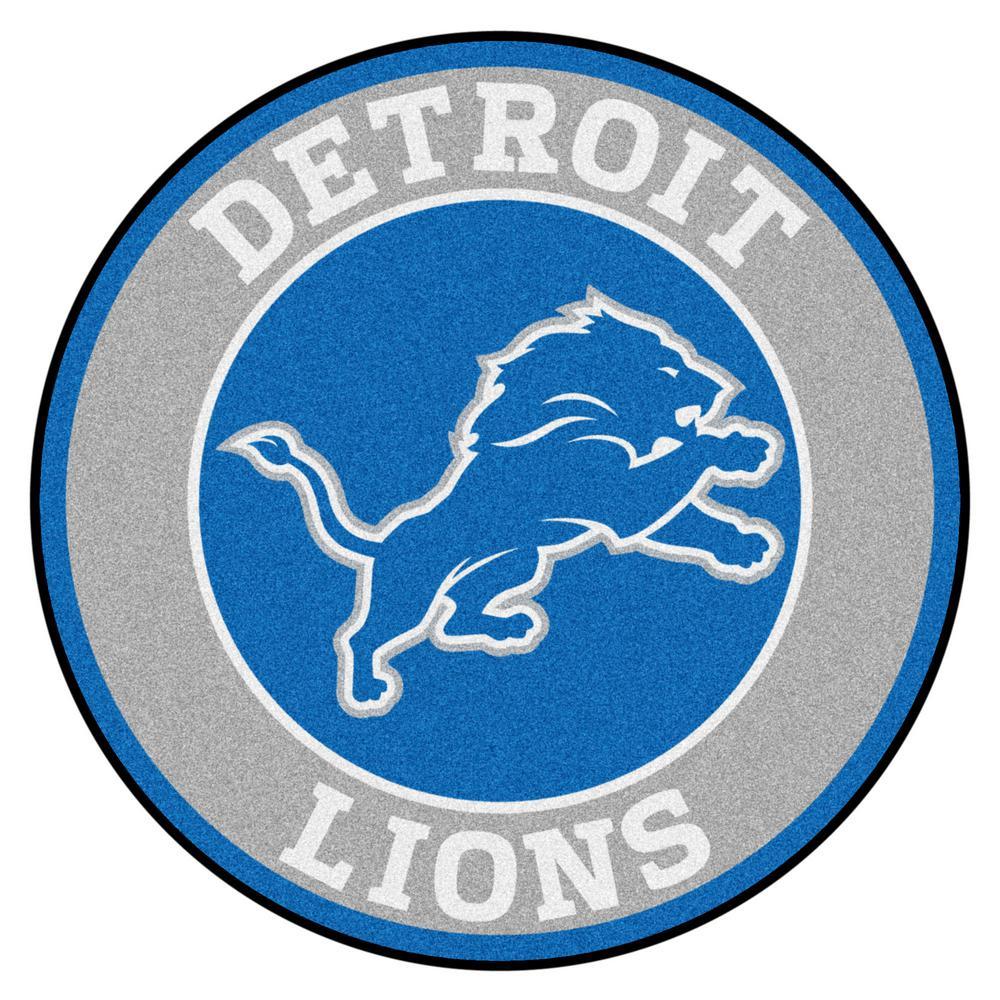 Fanmats Nfl Detroit Lions Blue 2 Ft X 2 Ft Round Area