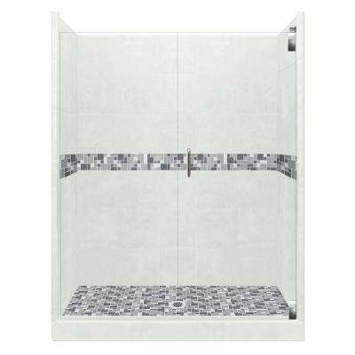 Newport Grand Hinged 34 in. x 60 in. x 80 in. Center Drain Alcove Shower Kit in Natural Buff and Chrome Hardware