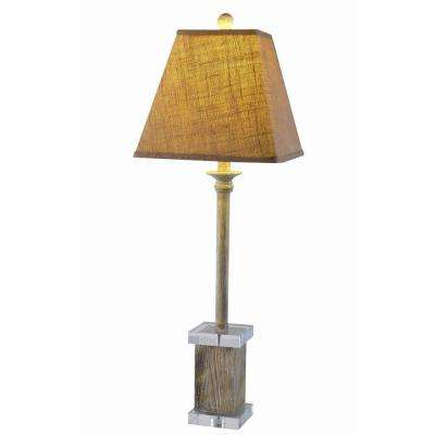 32 in. Antique Nature Resin and Acrylic Buffet Lamp