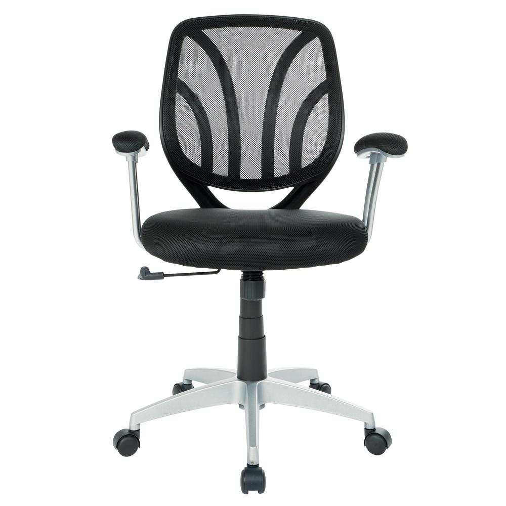 Black Mesh Screen Back Chair with Silver Coated Arms and Base