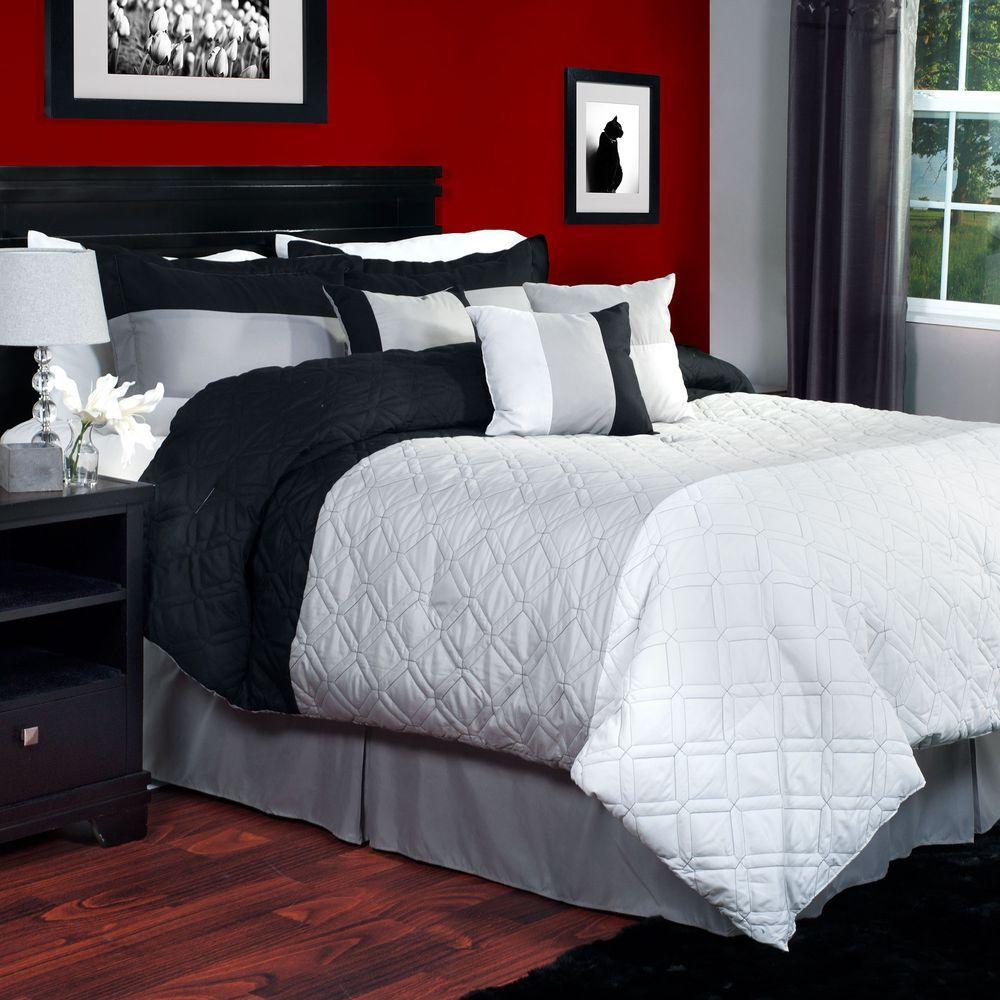 Lavish Home Emma 7-Piece Gray Queen Comforter Set