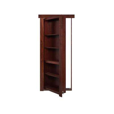 28 in. x 80 in. Flush Mount Assembled Walnut Cherry Stained Left-Hand Inswing Solid Core Interior Bookcase Door