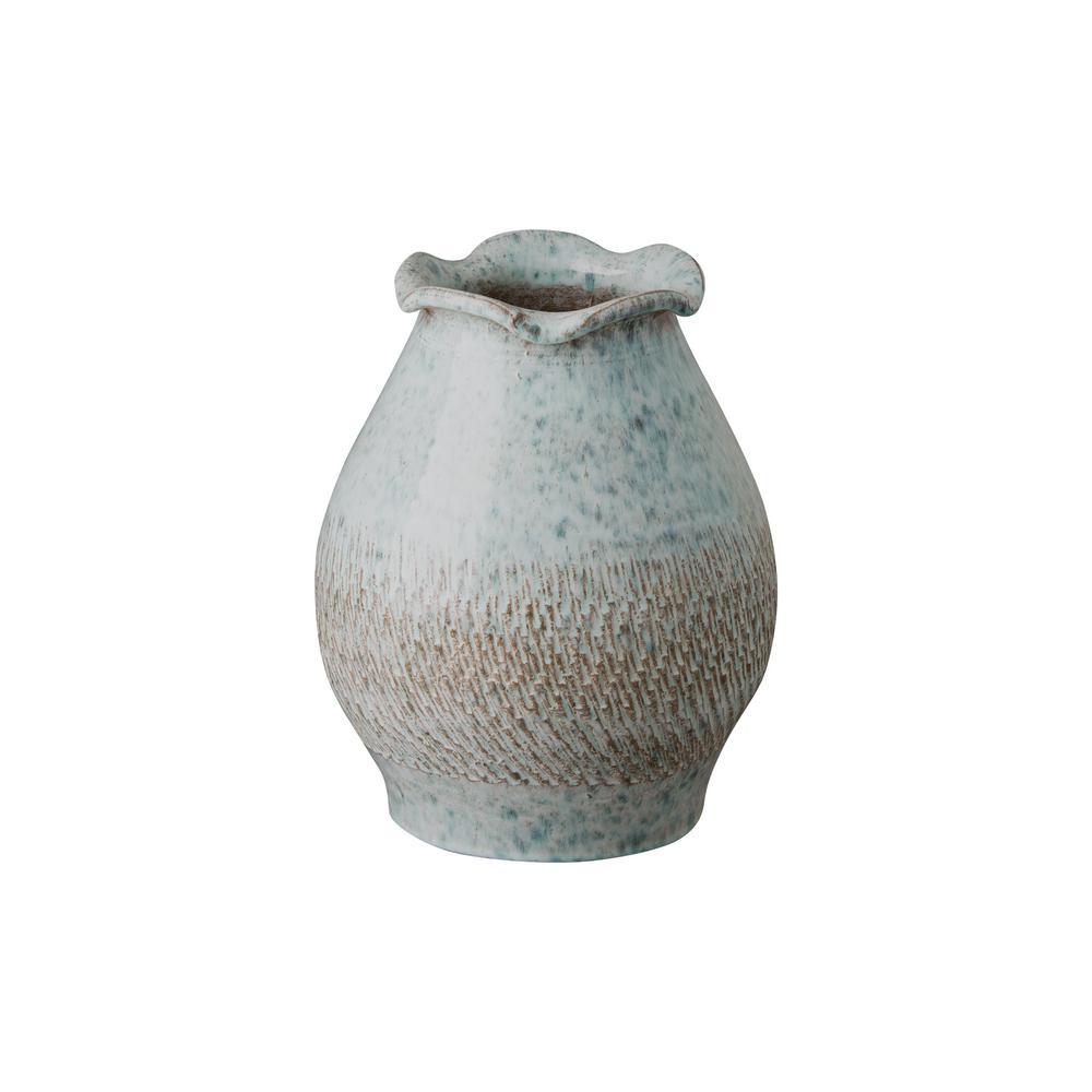 Short Scallop Coastal Splash Ceramic Vase
