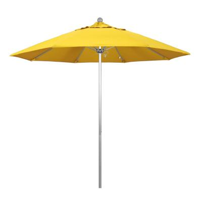 9 ft. Fiberglass Market Pulley Open S Anodized Patio Umbrella in Lemon Olefin