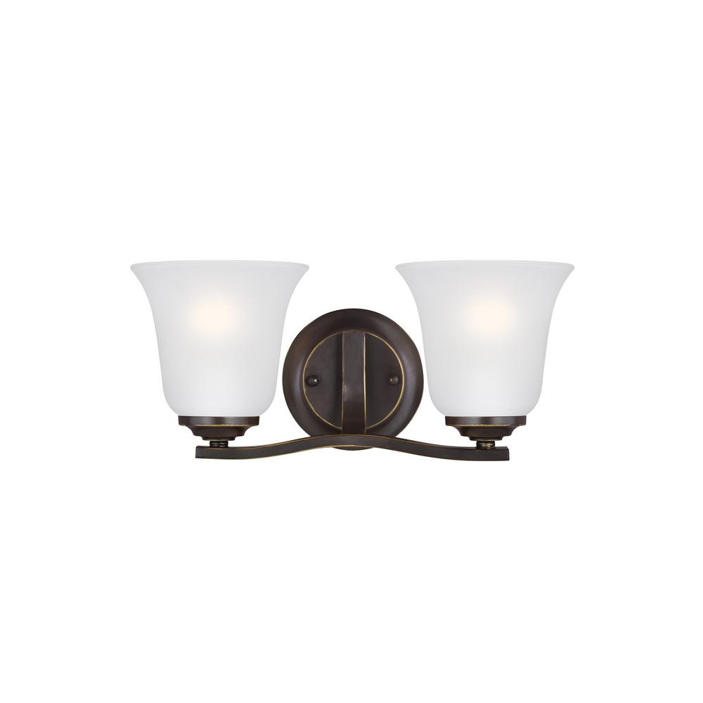 Sea Gull Lighting Emmons 2-Light Heirloom Bronze Bath Light with LED Bulbs