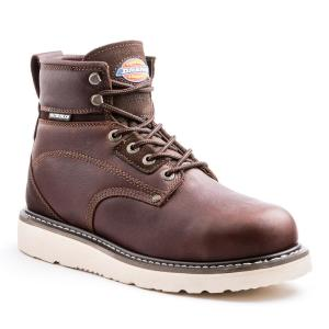 fb91a401ce9 Dickies Cannon Men Size 8 Medium Brown Steel Toe Leather Work Boot ...