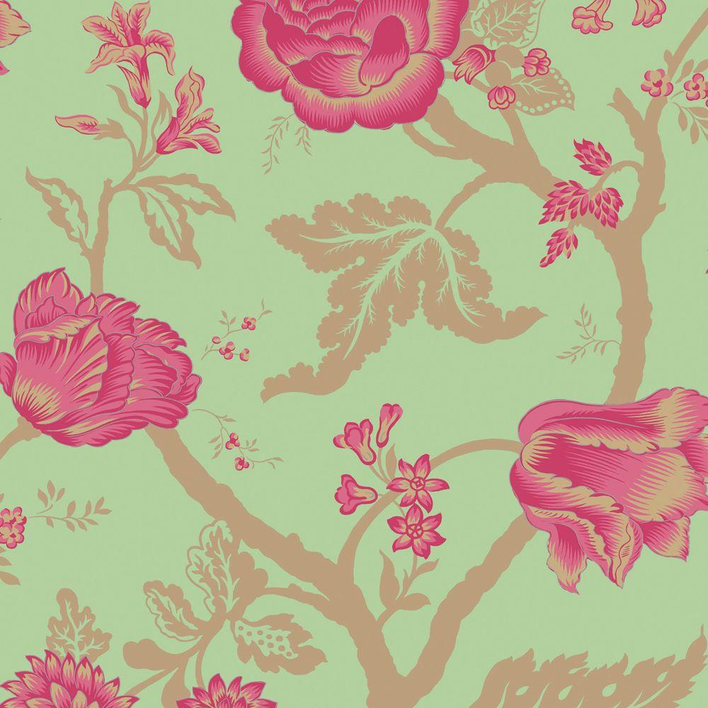 The Wallpaper Company 56 sq. ft. Lime and Fushia Large Floral Trail Wallpaper