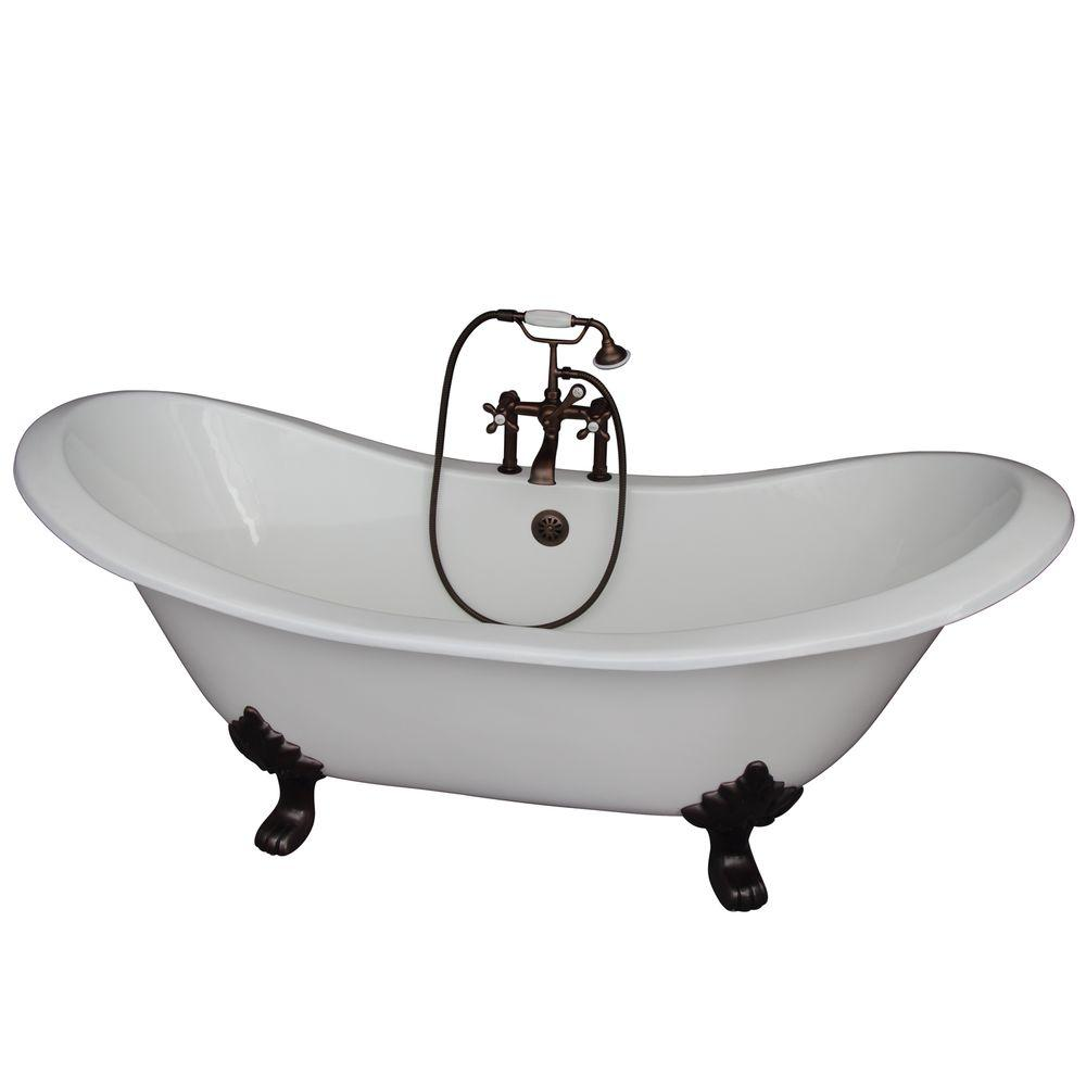 Barclay Products 5.9 ft. Cast Iron Lion Paw Feet Double Slipper Tub in White with Oil Rubbed Bronze Accessories