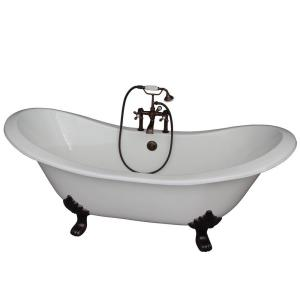 Barclay Products 5.9 ft. Cast Iron Lion Paw Feet Double Slipper Tub in White with Oil Rubbed Bronze Accessories by Barclay Products