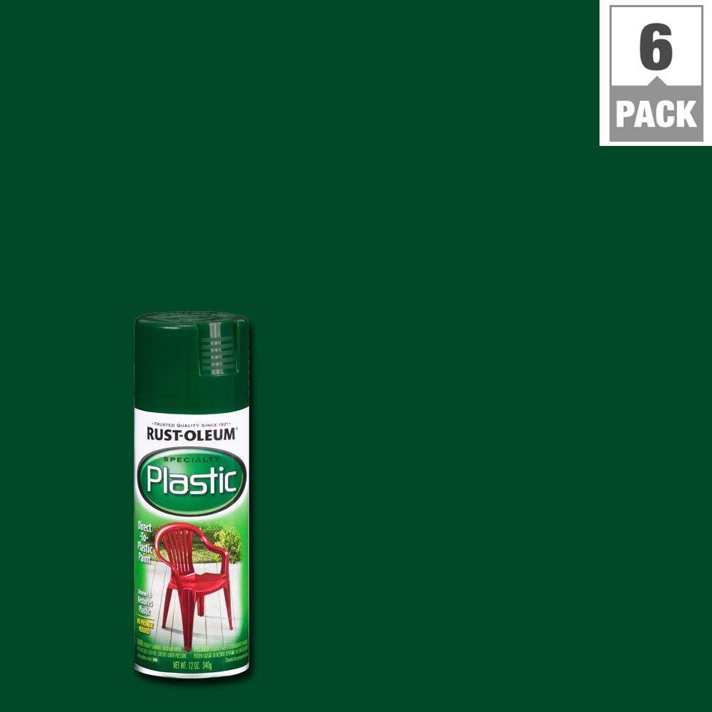 12 oz. Dark Hunter Green Spray Paint for Plastic (6-Pack)