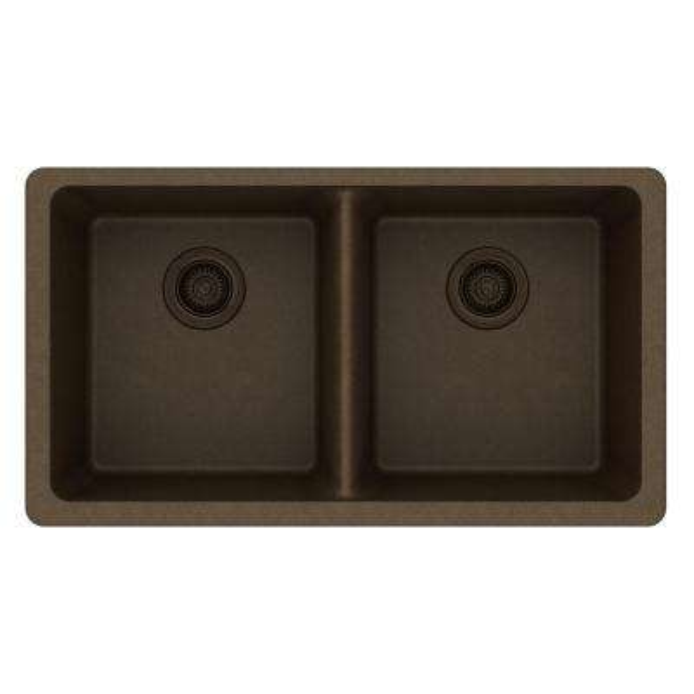 Quartz Classic Undermount Composite 33 in. 50/50 Double Bowl Kitchen Sink in Mocha