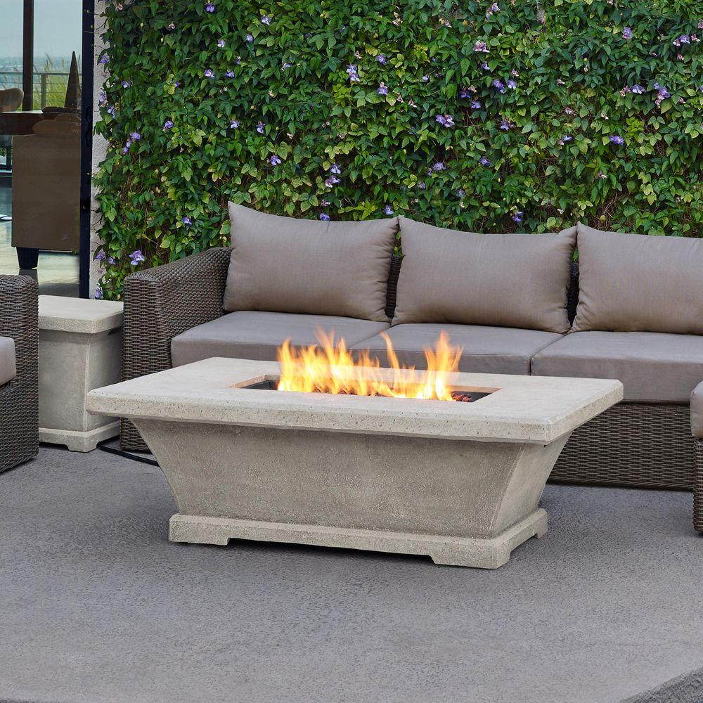 Monaco 55 In. Fiber Concret Rectangle Propane Gas Fire Pit In Cream