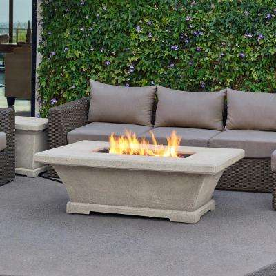 Monaco 55 in. Fiber-Concret Rectangle Propane Gas Fire Pit in Cream