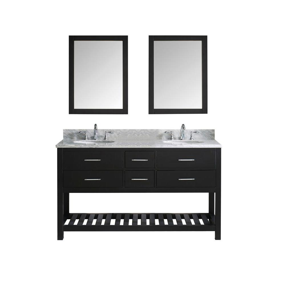 Caroline Estate 60 in. W Bath Vanity in Espresso with Marble