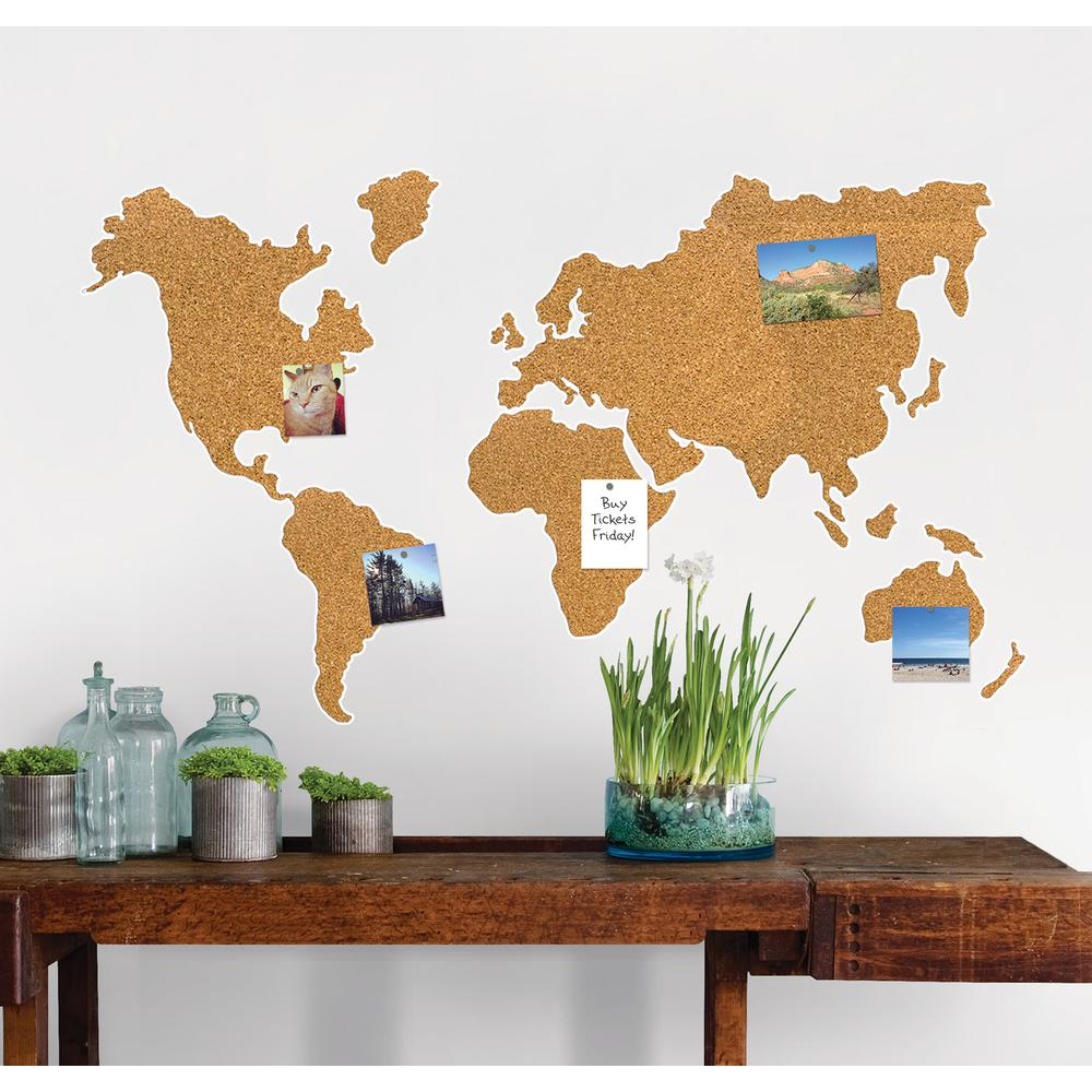 Map Of The World Decal.Wallpops 26 In X 26 In Cork Map Pinboard Wall Decal Wpe1941 The