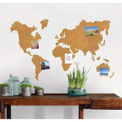 26 in. x 26 in. Cork Map Pinboard Wall Decal