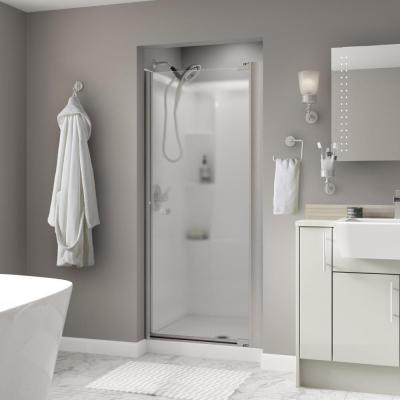 Lyndall 36 in. x 64-3/4 in. Semi-Frameless Contemporary Pivot Shower Door in Nickel with Niebla Glass