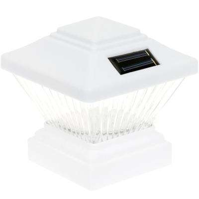 4 in. x 4 in. Solar Powered Integrated LED White PVC Post Light