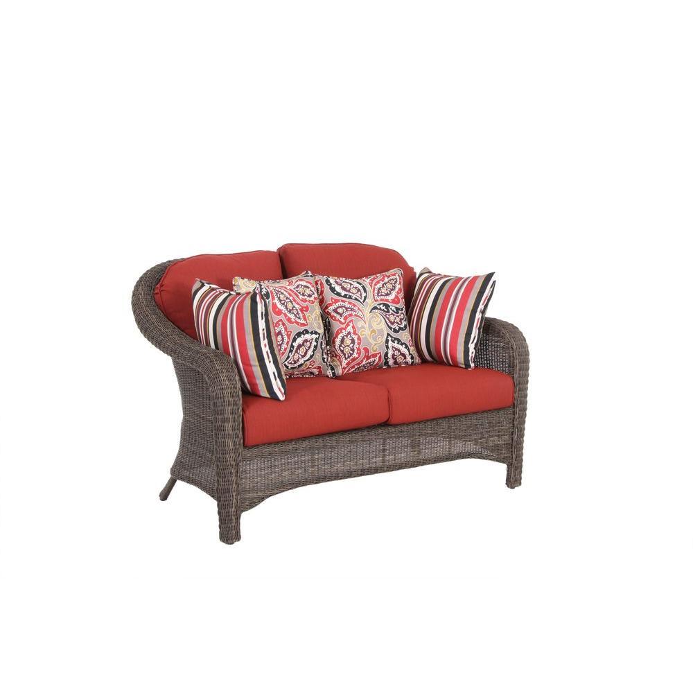 Hampton Bay Walnut Creek Patio Loveseat with Red Cushion-DISCONTINUED