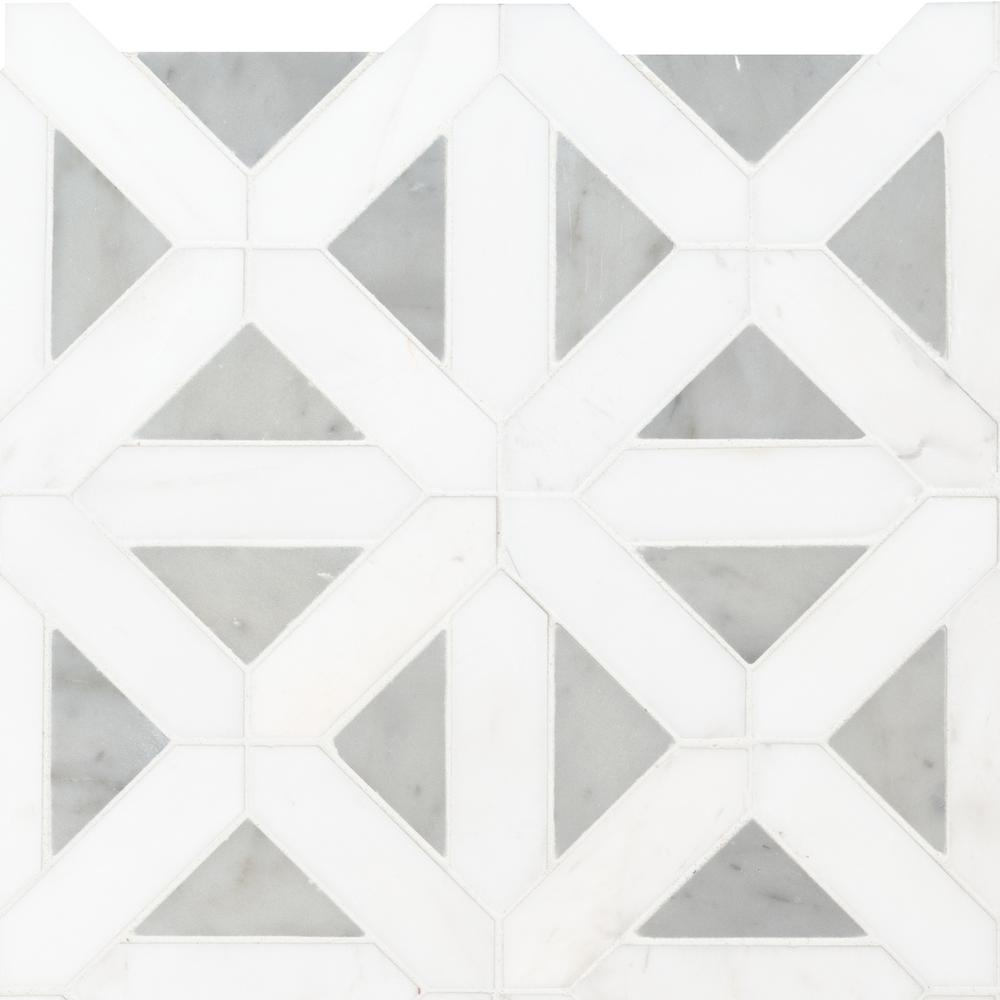 MSI Bianco Dolomite Geometrica 12 in. x 12 in. x 10mm Polished Marble Mesh-Mounted Mosaic Tile (10 sq. ft. / case)