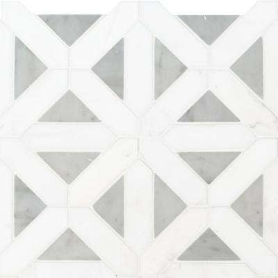 Bianco Dolomite Geometrica 12 in. x 12 in. x 10mm Polished Marble Mesh-Mounted Mosaic Tile (10 sq. ft. / case)