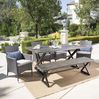 Gray and Black 6-Piece Wicker and Aluminum Rectangular Outdoor Dining Set with Silver Cushion