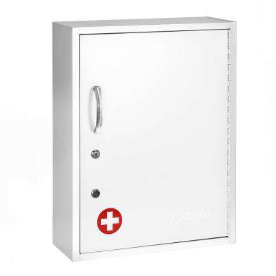 21 in. H x 16 in. W Dual Lock Surface-Mount Medical Security Cabinet in White with Pull-Out Shelf and Document Pocket