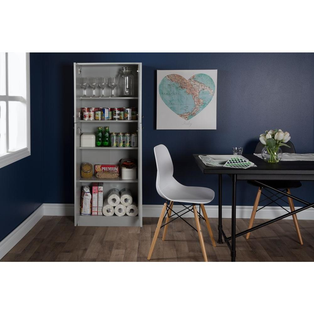 Grey Kitchen Accessories: Soft Gray Food Pantry South Shore Axess 4 Doors Food