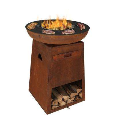 Rustic 30 in. x 40 in. Round Cast Iron Wood Burning Fire Pit with Cooking Edge