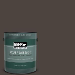 Behr Ultra Scuff Defense 1 Gal Pmd 91 Iced Espresso Extra Durable Semi Gloss Enamel Interior Paint And Primer In One 375301 The Home Depot