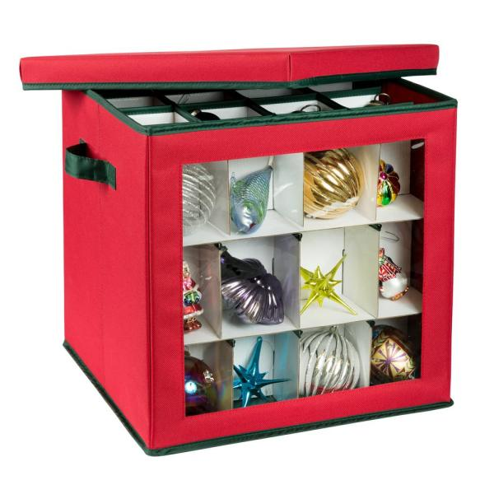 Red and Green Plastic Ornament Storage Box (48-Ornaments)