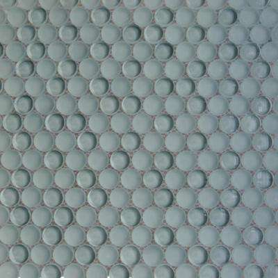 Contempo Gray Circles  11-1/2 in. x 12 in. 8 mm Polished  and  Frosted Glass Mosaic Tile (0.96 sq. ft. )
