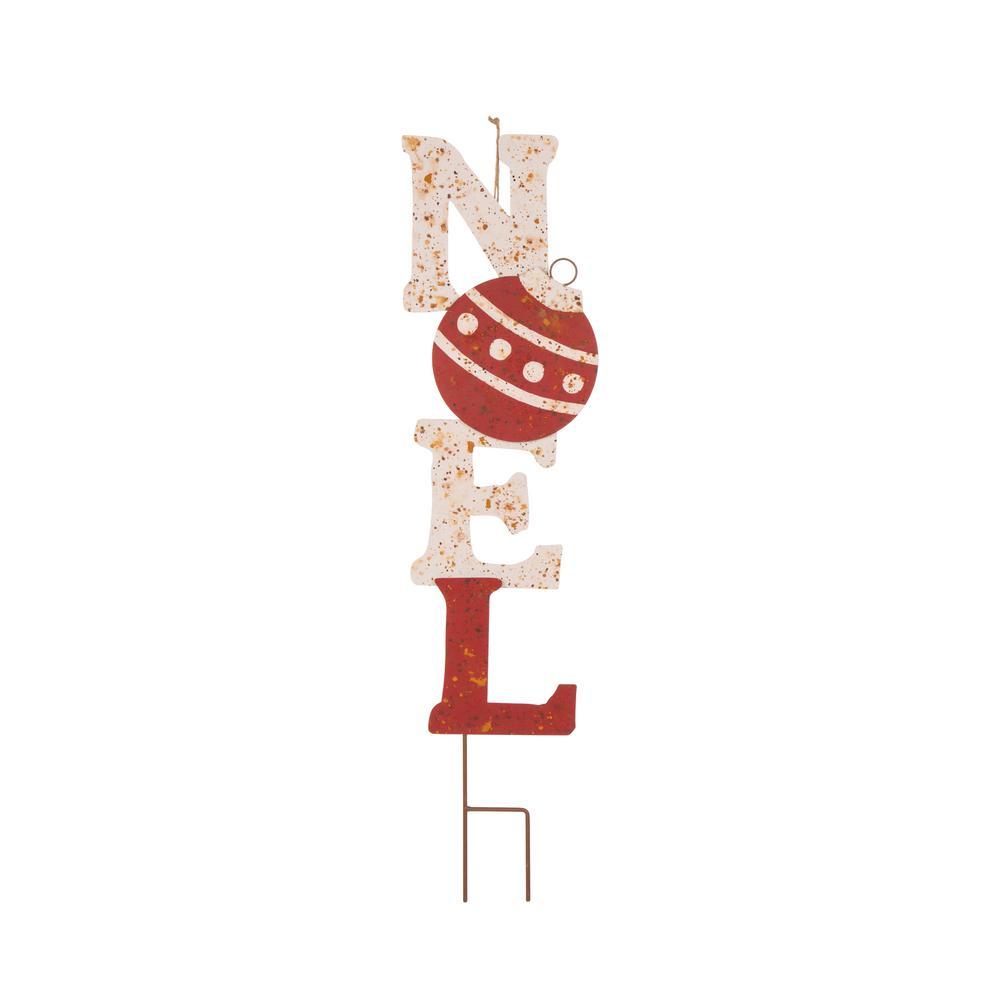 36.02 in. H Rusty Metal Noel Yard Stake or Wall Decor