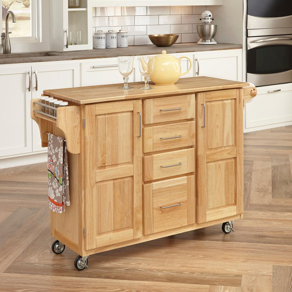 home styles natural kitchen cart with storage - Kitchen Carts