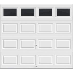 Clopay Clic Collection 8 Ft X 7 12 9 R Value Intellicore Insulated White Garage Door With Plain Windows Hdp13 Sw The Home Depot
