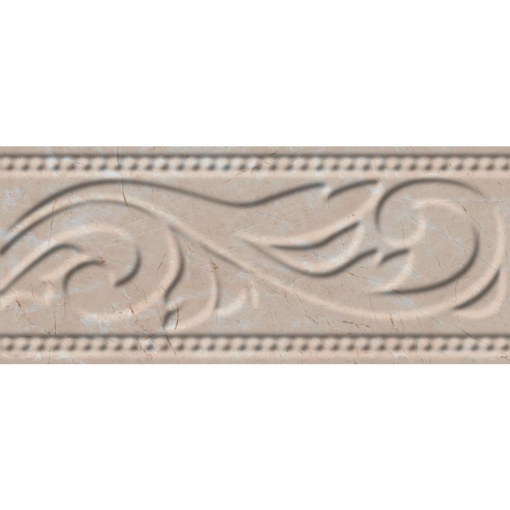 Delray L-1 Beige 3 in. x 8 in. Ceramic Listello Wall