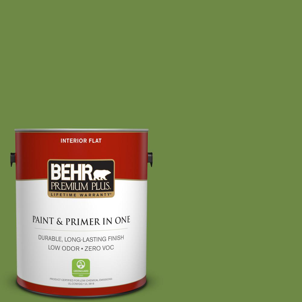 BEHR Premium Plus 1-gal. #S-H-420 Shamrock Zero VOC Flat Interior Paint