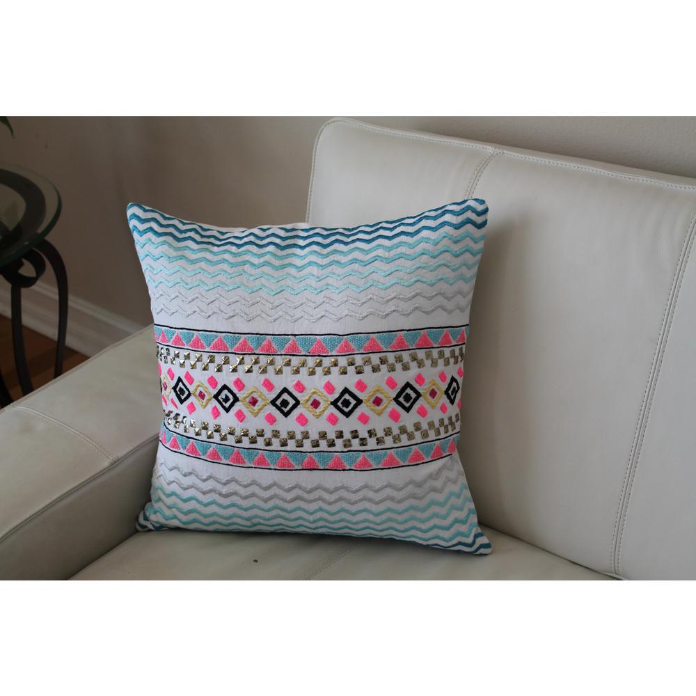 Multi-Color Chevron Embroidered 100% Cotton Throw Pillow