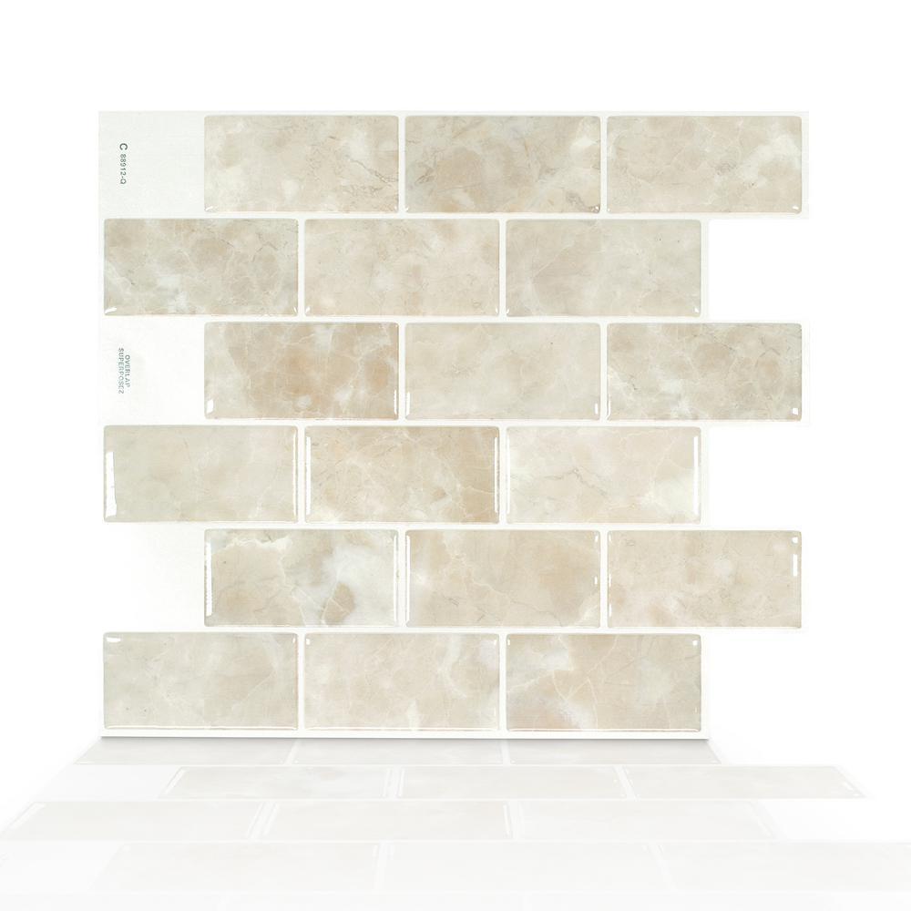 Subway Sora 10.95 in. W x 9.70 in. H Beige Peel and Stick Self-Adhesive Decorative Mosaic Wall Tile Backsplash