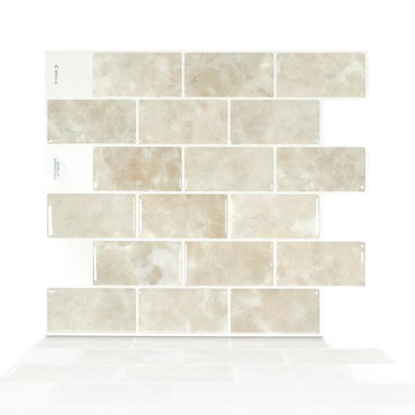 Smart Tiles Subway Sora 10 95 In W X 9 70 In H Beige Peel And Stick Self Adhesive Decorative Mosaic Wall Tile Backsplash Sm1160g 04 Qg The Home Depot