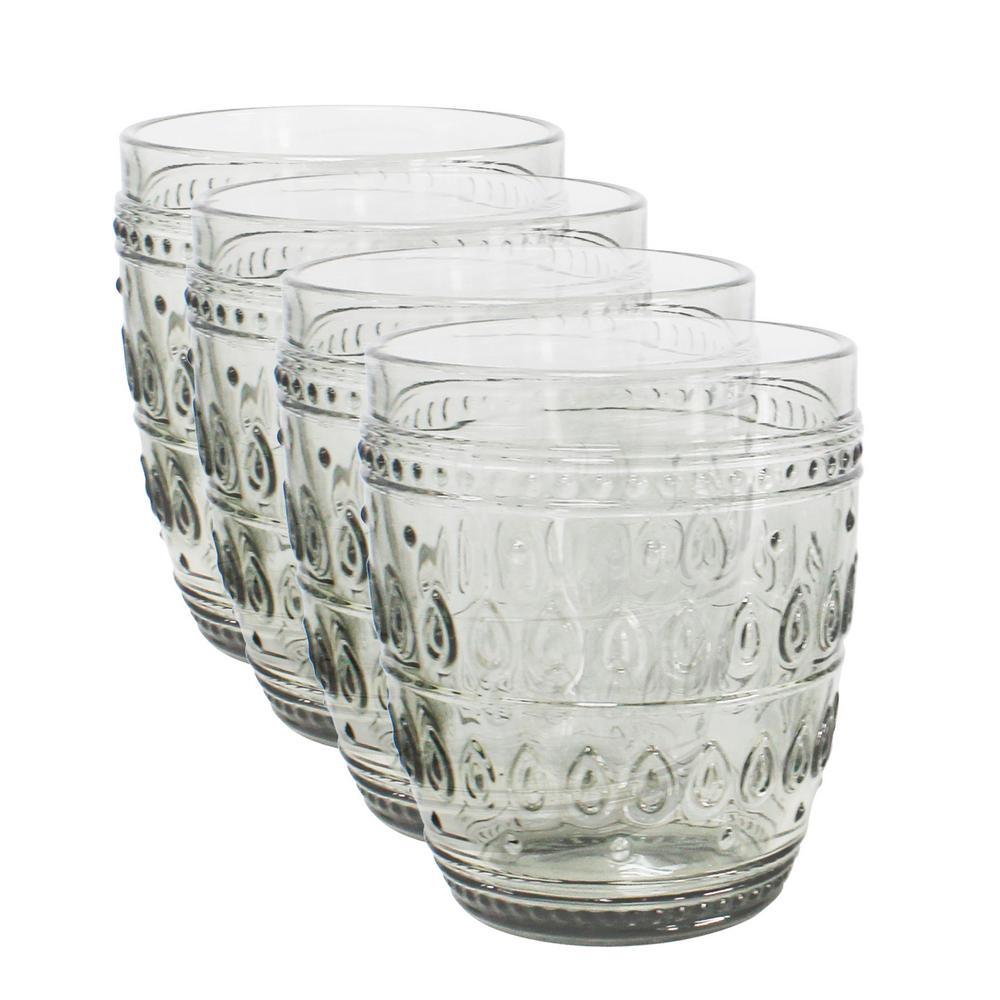 Fez 4-Piece 12 oz. Grey Old Fashion Glass Set