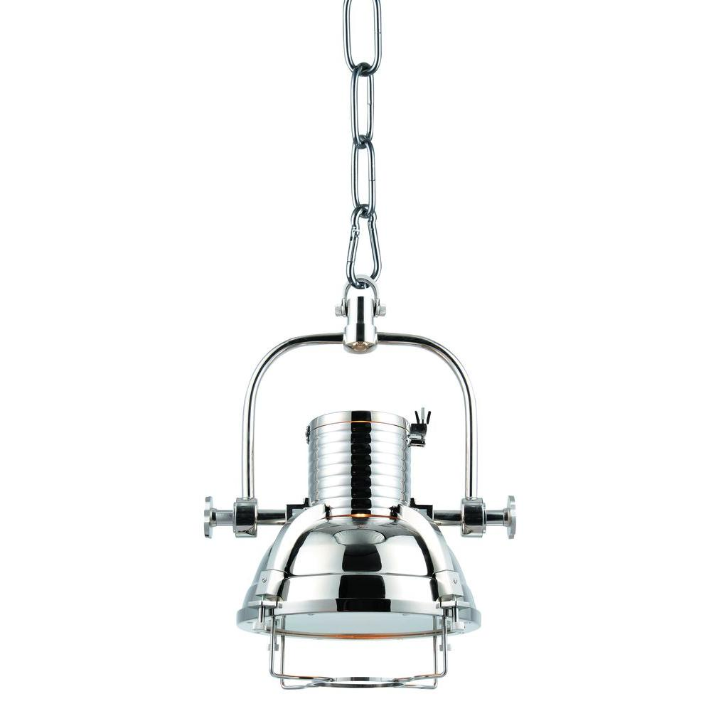 lighting industrial 1 light brushed nickel pendant