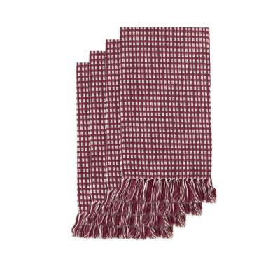 Homespun Fringed 18 in. x 18 in. Wine 100% Cotton Napkins (4-Pack)