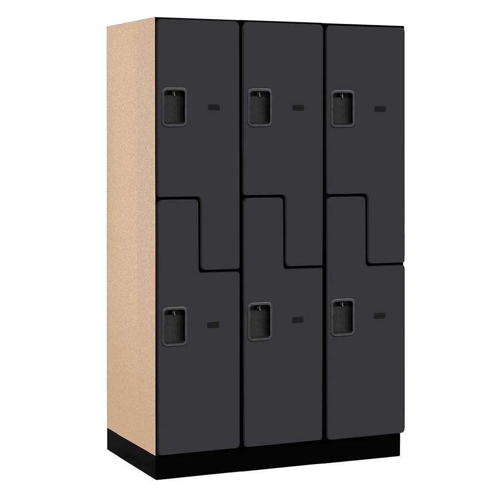 Salsbury Industries 27000 Series 2-Tier 'S-Style' Wood Extra Wide Designer Locker in Black - 15 in. W x 76 in. H x 21 in. D (Set of 3)