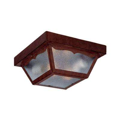 Builder's Choice Collection Ceiling-Mount 2-Light Burled Walnut Outdoor Light Fixture