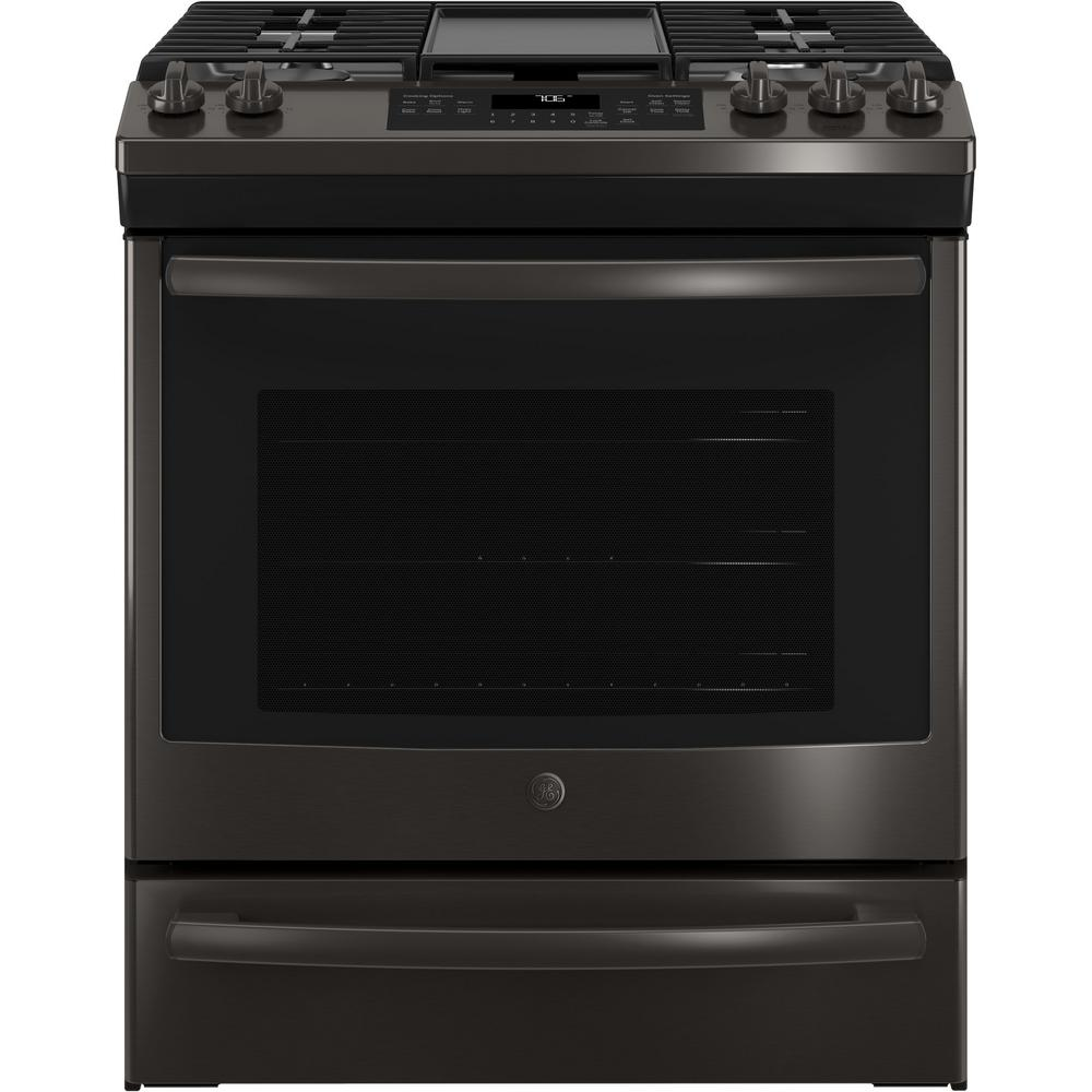 ge 5 6 cu ft slide in gas range with self cleaning convection oven in black stainless steel. Black Bedroom Furniture Sets. Home Design Ideas