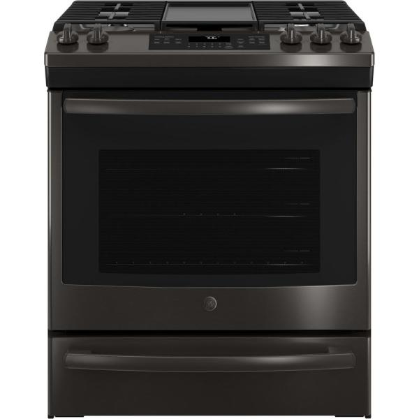 GE 5.6 cu. ft. Slide-In Gas Range with Self-Cleaning Convection Oven in Black Stainless Steel, Fingerprint Resistant