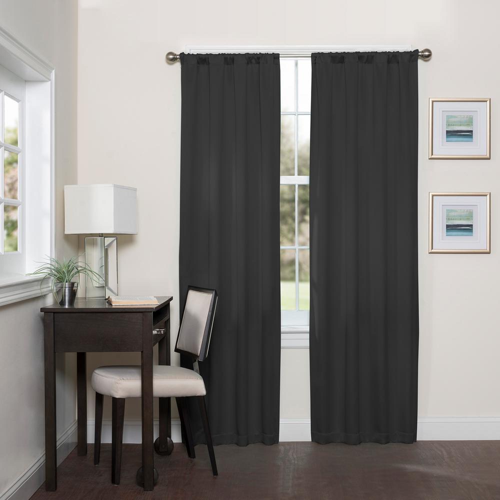 Darrell 63 in. L Black Rod Pocket Curtain