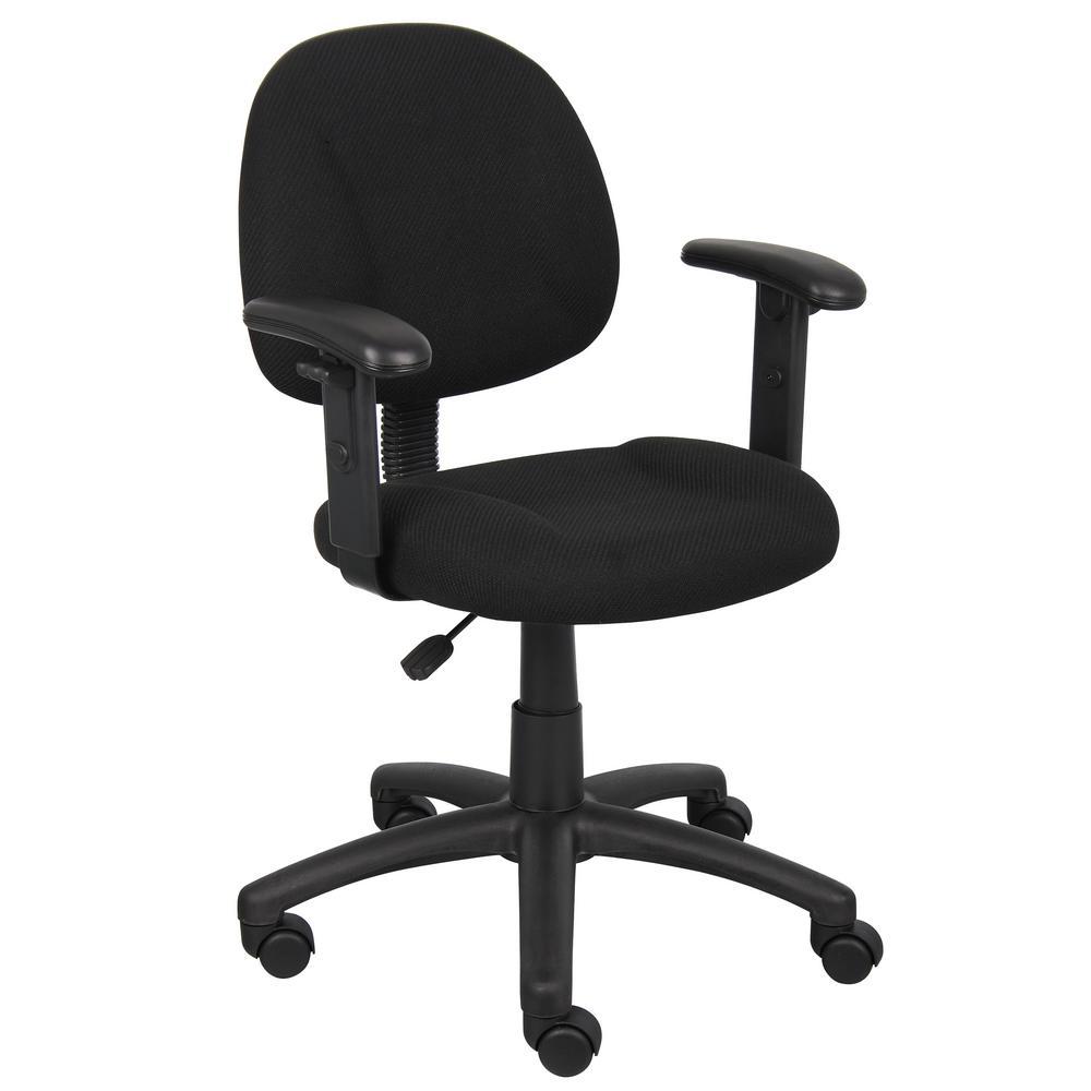 HomePro Adjustable Arm Task Chair BlackTweed Fabric Pnuematic Lift