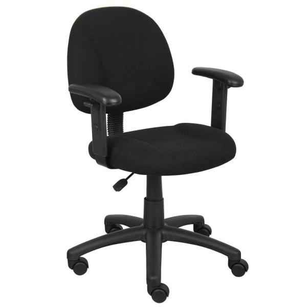 HomePro Adjustable Arm Task Chair BlackTweed Fabric Pnuematic Lift